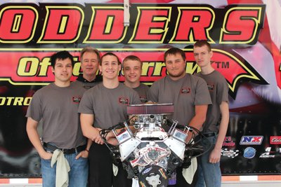 The WELD-sponsored team of five high school students from Eastern Oklahoma County Tech Center in Choctaw, Okla. are pictured with their instructor, Jim LaFevers, after taking first place in the Hot Rodders of Tomorrow regional competition in Ft. Worth, Texas. With a time of 22 minutes the team has qualified for the dual championship later this year.
