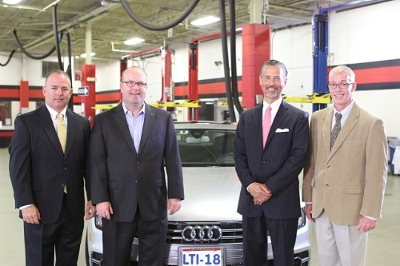 Lincoln Tech announces its selection as a Premium Plus Career Training Partner by Audi of America, providing manufacturer-specific training for its students. Pictured from left to right are Jon Branch, Audi Senior Manager Region Aftersales; Matt Shepanek, Audi National Manager Technical & Collision Training; Scott Shaw, Lincoln Tech President & CEO; Jay Rasmussen, Lincoln Tech Mahwah Campus President. (PRNewsFoto/Lincoln Educational Services Cor)