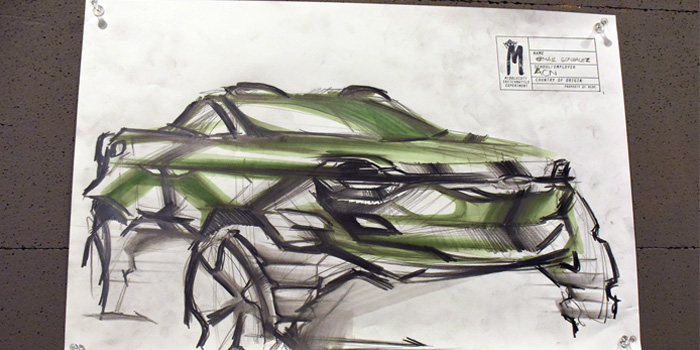 Omar Gonzalez's second round sketch featuring BASF Fresh Mint, 150th anniversary color from Asia Pacific.