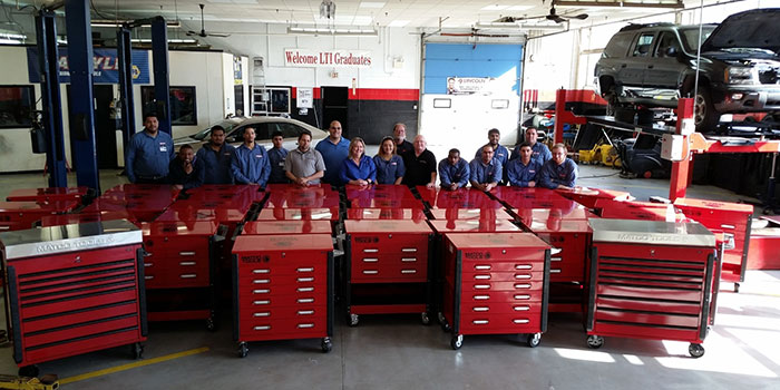 Students in Lincoln Tech's Automotive Technology Program at the Philadelphia, PA, campus proudly display the school's new Matco tool boxes.