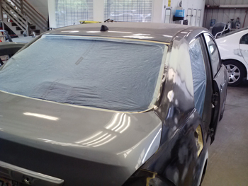 Itemized refinish operations should include refinish inside quarter panel, partial refinish adjacent panels for weld burn damage, inner structure color.