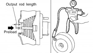 When doing an Output Rod Length Inspection, use a hand vacuum pump and apply a vacuum of 19.69 in-Hg to the brake booster. Then, check the length of output rod. The standard dimension is 15.6-15.9 mm (0.612-0.626 in.).