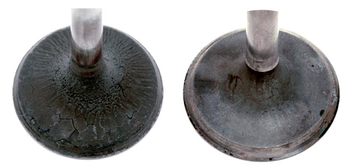 Due to tighter tolerances, deposits on intake valves in today's vehicles (left) are of a harder, more carbonaceous makeup and appear to be more fuel related than in older engines that had deposits as a result of engine oil.