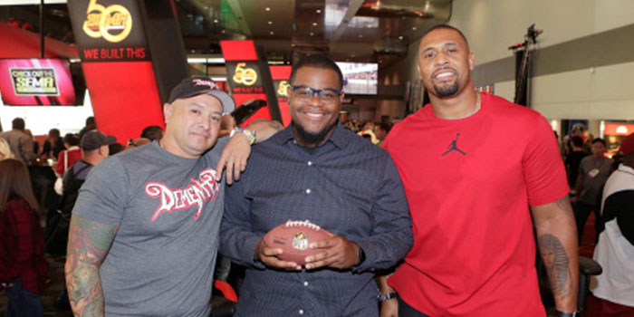 """The NFL Network debuted new reality series """"Tackle My Ride,"""" starring Super Bowl Champion LaMarr Woodley, right, and Demented Customs master car builder, James Torrez, left, with featured Cleveland fan, Joe Whitthorne, Nov. 2 at 2016 SEMA Show in Las Vegas."""
