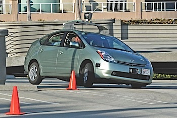 google reported that its experimental autonomous prius has driven more than 300,000 miles without an accident.  photo credit: steve jurvetson
