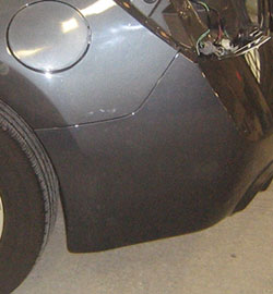 Here's a brand-new bumper that flat out doesn't match. This problem could have been avoided if the painter had sprayed a test panel prior to the job. The color could then have been adjusted for an acceptable match. Or better yet, the quarter panels could have been blended.