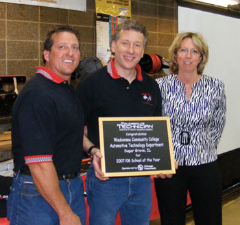 waubonsee community college  automotive course instructors ken kunz (left) and jim armitage (center) receive the inaugural t2 school of year award from beth skove, associate publisher of tomorrow's technician magazine.