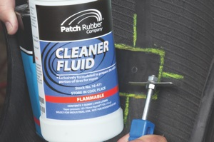 apply a light coat of cleaner fluid to the buffed area, scrape clean and allow to dry.