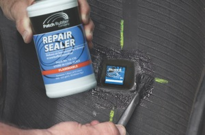 apply repair sealer on the overbuff area, and over the edge of the repair unit.