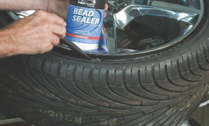 apply bead sealer to the bead of the tire before inflation to help prevent air loss around the bead. (not necessary for truck tires.)