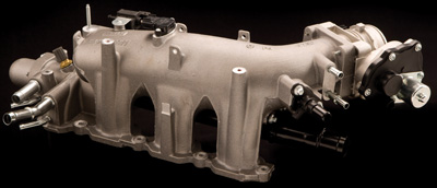 ford's ecoboost v6 intake manifold was designed to provide maximum boost response for improved driving characteristics. the manifold's relatively compact size for a v6 allows the turbochargers to pressurize the intake system quickly virtually eliminating turbo lag.