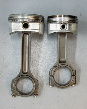 these piston/rod assemblies illustrate a couple of important things to keep in mind when working with stroker motors. no.1,  if at all possible, keep the piston pin out of the ring land area, especially for street engines. both of these pistons are pushing the limit. no. 2, pay attention to rod length if possible. try to keep the rod/crank ratio as near to stock for street engines and shoot for 1.8:1 for race motors (rod length divided by stroke).