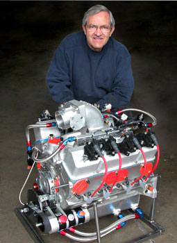 kenny duttweiler poses here with an aluminum small-block chevy awaiting shipping to a customer. this one will be turbocharged, but it shows to what extent you can up-sell the customer if needed. dry sump oil system and direct-fire ignition system were required for this custom setup.