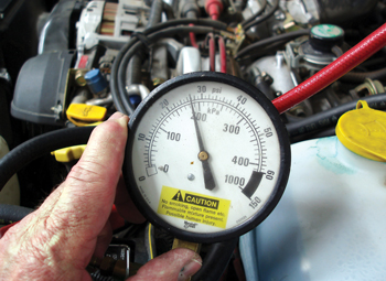 Photo 4: Low fuel pressure can be caused by a worn fuel pump or a defective fuel pressure regulator.