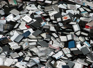 Discarded mobile phone batteries. Photo courtesy of Cadex.